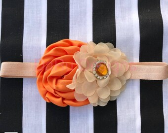 baby headband, flower headband, orange and beige headband, fashion headband