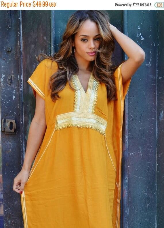 Kaftan Dress Dark Yellow Marine Moroccan Resort Caftan Kaftan -beach kaftan,resortwear,loungewear, maxi dress, winter dress, Ramadan, Eid