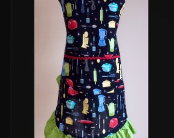Retro Appliance Ruffled Pinup Rockabilly Apron