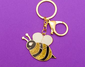 Glitter Bee - Hard enamel keychain