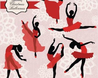 50% OFF SALE! Instant Download -Red Ballerinas: Digital Clipart Set