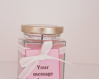 Personalised Soy Wax Scented Candle. Congrats gift. Write your own message. Gift thank you, birthday, get well.