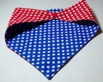 "Dog Bandana - Red White and Blue - 4th of July Dog Scarf - Snaps Together  -  Reversable Dog Scarf - Puppy Bandana  17"" by 8 "" Size Small"