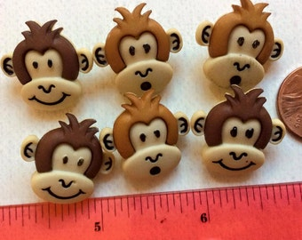 SET of 6 Shank Adorable Monkey Sewing Buttons