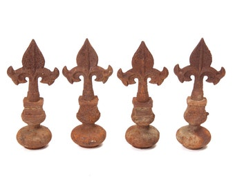 Vintage Cast Iron Fence Toppers Architectural Salvage Finials Rustic Home Garden Decor Post Cap Paper Weight