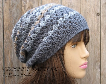 Crochet Hat Pattern - Slouchy  Hat, Crochet Pattern PDF,  Pattern No. 27