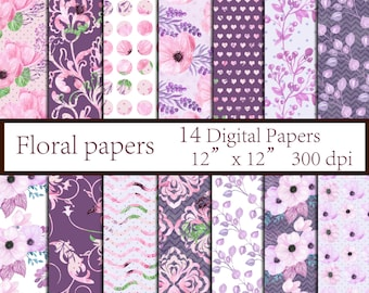 """Floral digital paper pack: """"FLORAL PAPERS"""" Floral background Decoupage paper Pink digital papers Purple papers Wedding background Watercolor"""