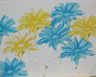 "Flowers 10"" x 14"" watercolor pencil"