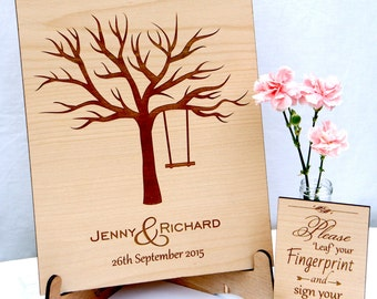 Personalised Wooden Fingerprint Tree & Stand ,Wedding Guestbook, Alternative Guestbook, Rustic Wedding, FREE INK PADS