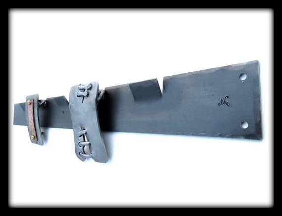 BELT BUCKLE RACK - 5 Hooks - Hammer Textured & Signed by Blacksmith Naz - Buckle Display   Naz Forge Original Personalized Option Available