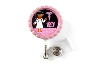 African American Nurse with Glasses  - Name Badge Holder - Cute Badge Reels - RN Badge  - Labor and Delivery Nurse Badge - Nurse Badge Clip