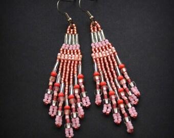 Pale pink seed bead earrings Pink boho earrings Beaded fringe earrings Unique bohemian earrings Unique womens earrings Seed beaded earrings