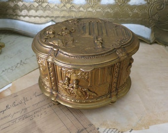 Antique Fancy Gold Jewelry Box Blue Vevlet Lining, Jennings Brothers JB Casket Box 1353, Vintage Ornate High Relief Romantic Scenery Box