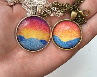 Small Circle Mountain Sunset Drawing Necklace
