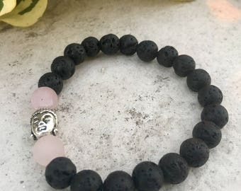Rose Quartz Gemstone And Lava Diffuser Bracelet, Budhha Charm, Aromatherapy Jewelry, Chakra jewelry, Healing Properties, Natural Remedy
