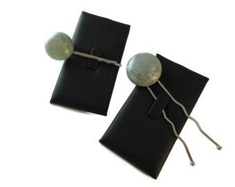 Pale Green Stone Hair Fork and Bobby Pin Set, Hair Bun Accessories Natural Stone Hairpin Set, Green Cabochon Stone Hair Accessories