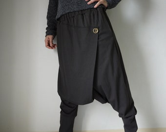 Women Men Pants - Drop Crotch Dark Charcoal Cotton Jersey Pants With 2 Side Pockets And Elastic Waist Band