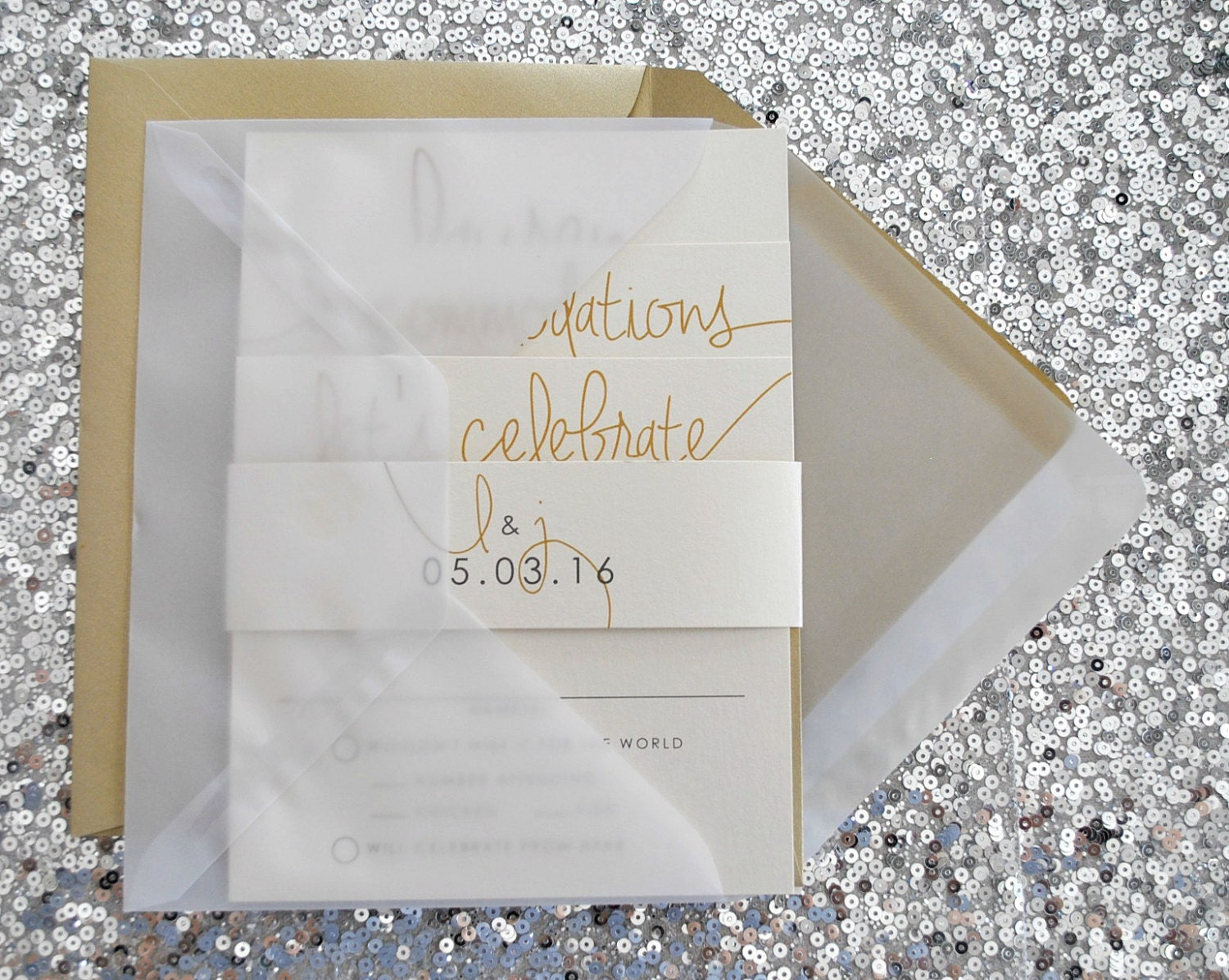 Cardstock Paper For Wedding Invitations: Paige Wedding Invitation Suite With Belly Band And Vellum