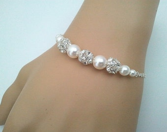 Wedding Jewelry, Pearl Bracelet, Charm, Bangle, Wedding Bracelet,Sterling Silver Chain - Braid Maid Gift,strand