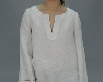 Linen White Tunic Longsleeved /Linen Tank / Linen Blouse Drawnwork on Sleeves/ Linen Blouse White