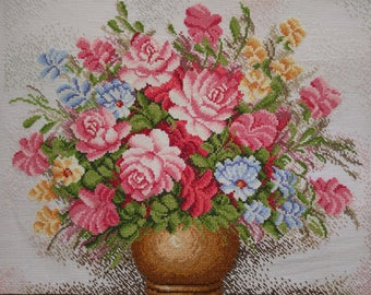 New Finished Completed Cross Stitch - Roses - Rose Vase - Pink Rose - F11