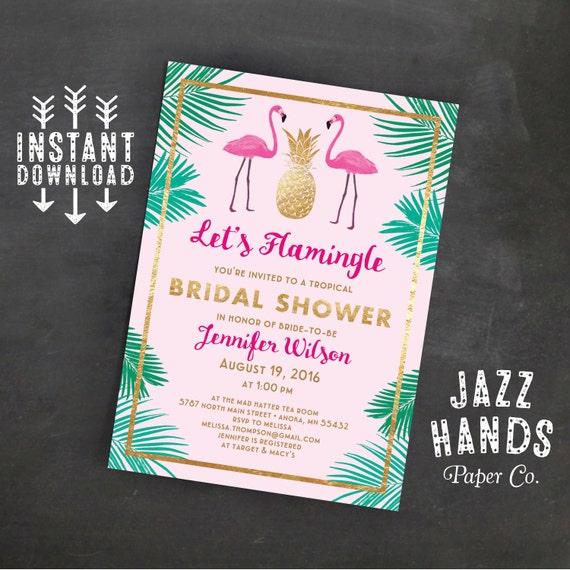 lets flamingle printable bridal shower invitation template flamingo party wedding shower tropical pineapple flamingo invitation