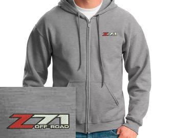 silverado Z71 Embroidered gray Hoodie Full Zip Hooded Sweatshirt New