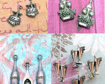 Collection of Wine/Drink Charms - 8 pieces-(Antique Pewter Silver Finish)