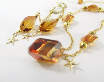 14k GF Swarovski Crystal Copper Cubist and Starfish Asymetrical Necklace and Earrings Matching Set - all 14k Gold Fill