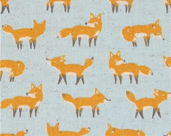 216406 light blue Canvas fabric with small fox animal by Kokka Japan