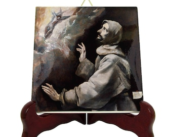 Saint Art - St Francis receiving the stigmata - decorative tile art - catholic saints - Saint Francis of Assisi - El Greco