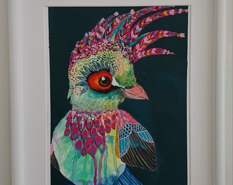 Colourful bird art - Tilly A4 print