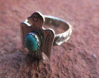 Stamped Sterling Silver Thunderbird Ring with Turquoise Cowgirl Southwestern Jewelry