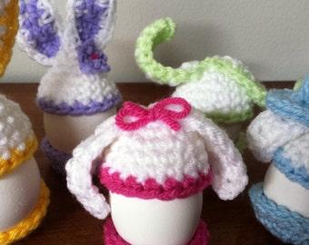 Sale!  Funny Bunny Egg Warmer Egg Cozies, Set of 5 Crochet