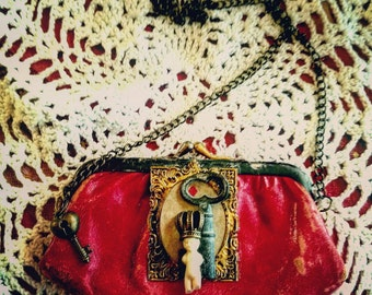 Sweet Tiny Frozen Charlotte in Brass Frame Antique Red Coin purse with Chain
