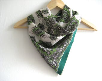 Vintage Scarf  Green Decorative Ferns 1950 Style Vintage Scarf