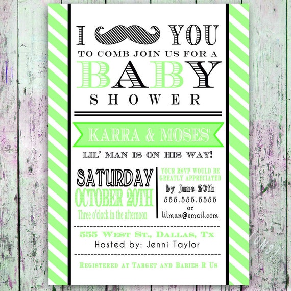 Little Man Mustache Baby Shower Invitation Digital