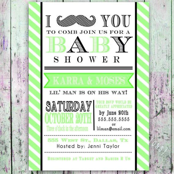 Amazing Little Man Mustache Baby Shower Invitation    Digital Printable Custom  Invites