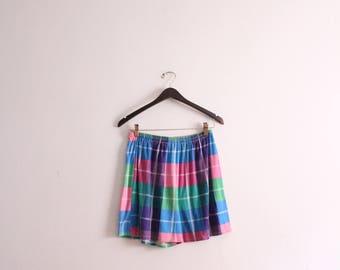 Bright Grid Plaid 90s Summer Shorts