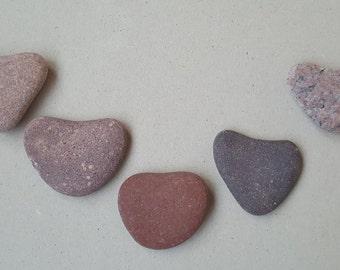 Sea Stone Hearts -Beach Stone Hearts -Beach Hearts 5 Pieces.