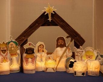 Machine Embroidery Nativity 12 pc Tea Light Design Set - 4x4 & 5x7 hoop