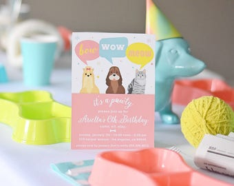 "Puppy Kitten Birthday Party Invitation CUSTOM PDF Printable Invite, 5""x7"" Bow Wow Meow, Pawty, Cat and Dog Party, Online or You Print"