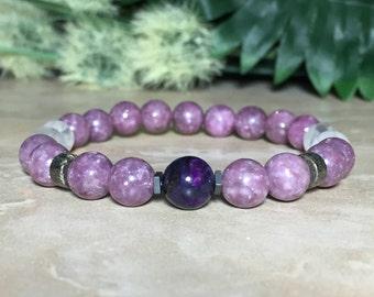 8mm Genuine Sugilite Bracelet, Lepidolite Bracelet, Rainbow Moonstone Bracelet, Healing Bracelet, Emotional Balance, Opens the chakras