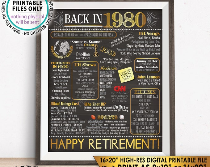 """Retirement Party Decorations, Back in 1980 Poster, Flashback to 1980 Retirement Party Decor, Chalkboard Style PRINTABLE 16x20"""" Sign <ID>"""