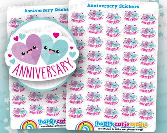 40 Cute Anniversary Planner Stickers, Filofax, Erin Condren, Happy Planner, Kawaii, Cute Sticker, UK