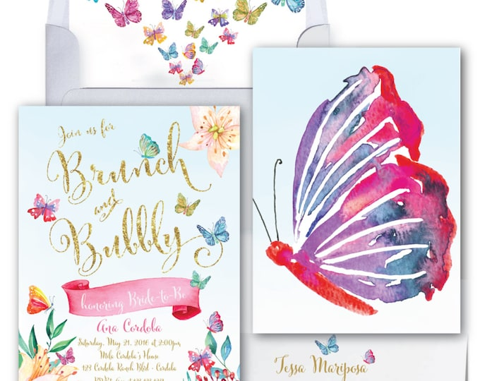 Butterfly Brunch and Bubbly Invitation // Butterflies // Bridal Shower // Brunch & Bubbly //Watercolor // Gold Glitter // CORDOBA COLLECTION