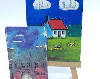 Red Roof. Mini Canvas And Easel, Gouache And Liquid Metal Acrylic.