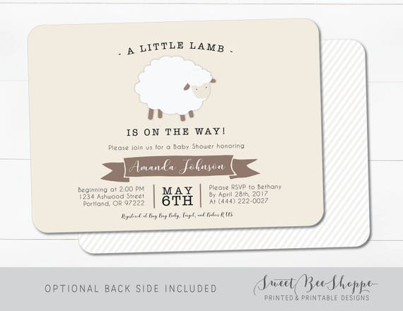 Lamm-Baby-Dusche Einladung: Geschlecht Neutral Babyparty