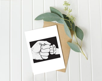 New baby card, new dad card, birthday card, first fathers day, from the kids, fist bump, for him, new daddy, first birthday