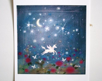"Butterfly Moon, PRINT 8x8"", unicorn print, flying unicorn, fairy tale print, butterfly print, butterflies, room decor, housewares, kids room"